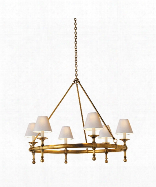 "Classic 33"" 6 Light Chandelier In Hand-rubbed Antique Brass"