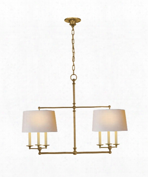 """Classic 42"""" 6 Light Island Light In Hand-rubbed Antique Brass"""