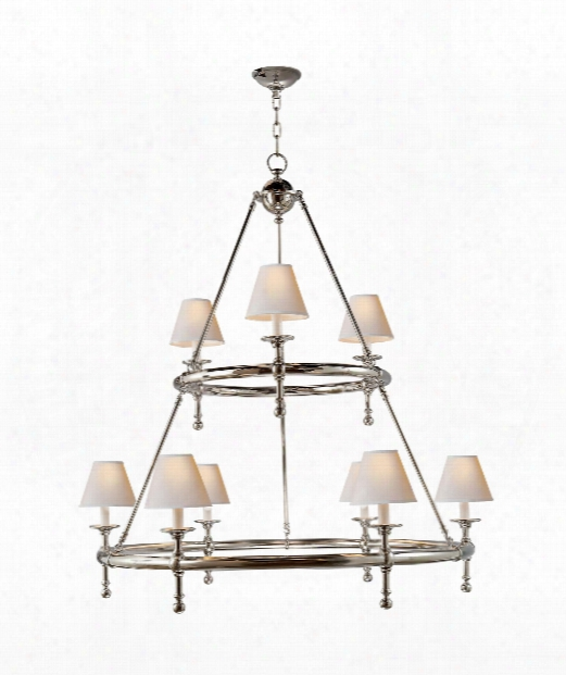 """Classic 45"""" 9 Light Chandelier In Polished Nickel"""