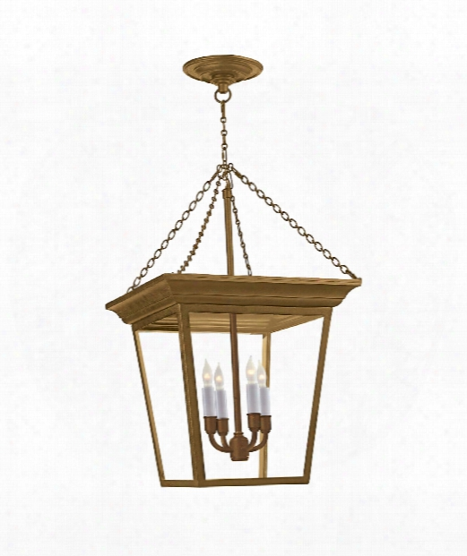 "Cornice 15"" 4 Light Foyer Pendant In Hand-rubbed Antique Brass"
