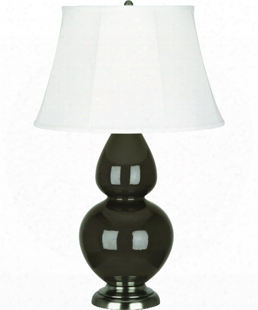 "Double Gourd 7"" 1 Light Table Lamp In Antique Silver-brown Tea"