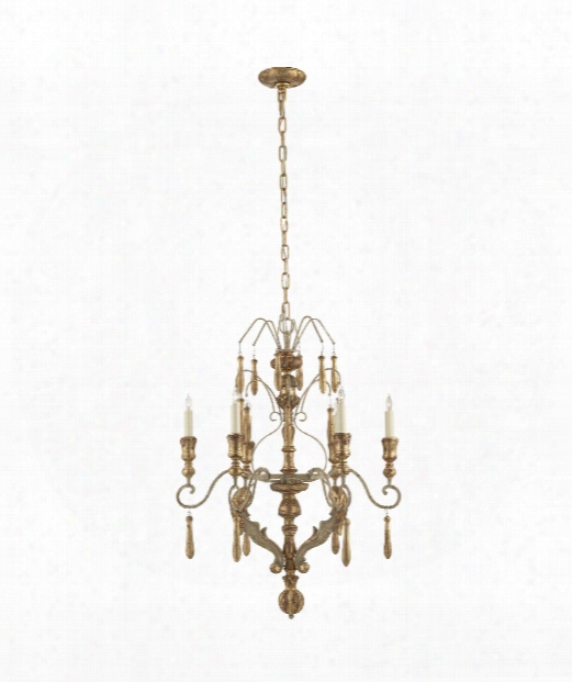 """Katherine 25"""" 6 Light Chandelier In French Antique And Gold Leaf"""