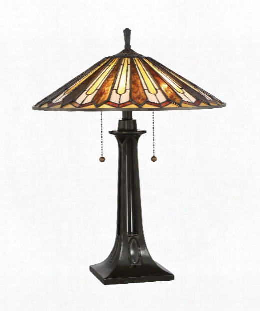"Lance 20"" 2 Light Table Lamp In Vintage Bronze"