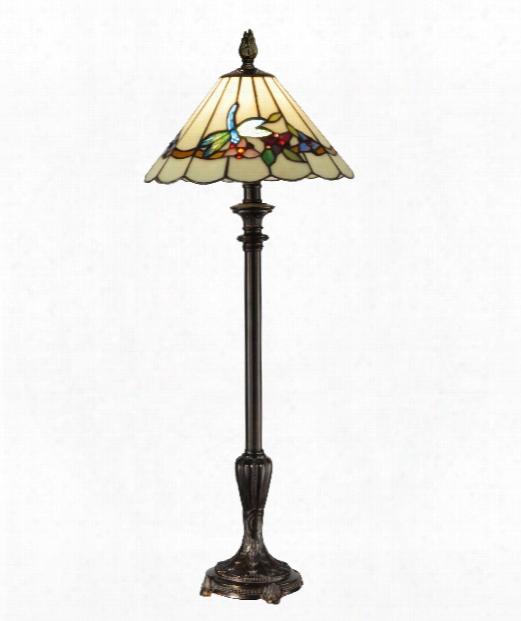 "Lyndon Tiffany 12"" 1 Light Accent Lamp In Dark Antique Bronze"