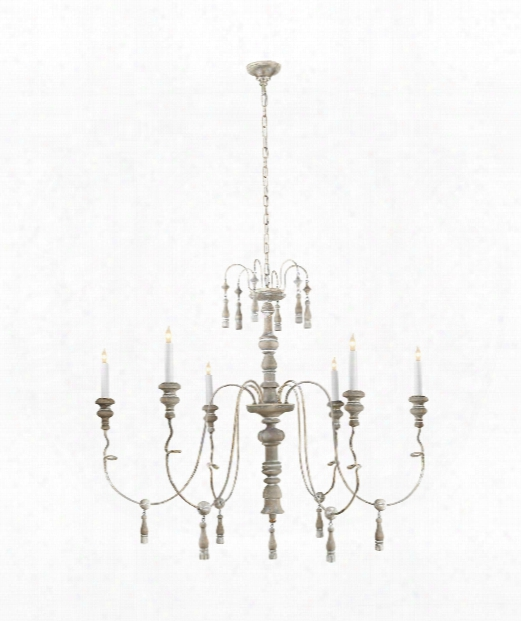 "Michele 43"" 6 Light Chandelier In Belgian White"