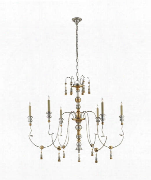 "Michele 43"" 6 Light Chandelier In French Gild Silver And Gold"