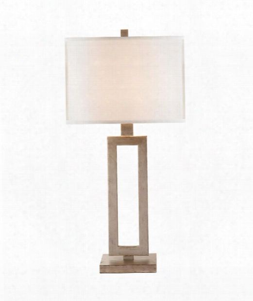 "Mod 14"" 1 Light Table Lamp In Burnished Silver Leaf"