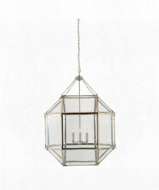 "Morris 23"" 3 Light Foyer Pendant In Polished Nickel"