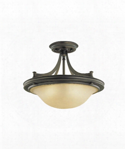 "Pub 15"" 2 Light Semi Flush Mount In Oil Rubbed Bronze"