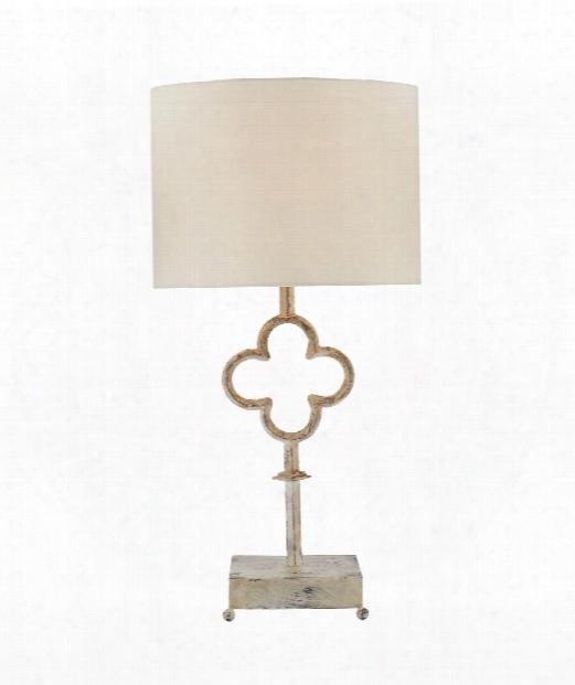 """Quatrefoil 18"""" 1 Light Table Lamp In Belgian White"""