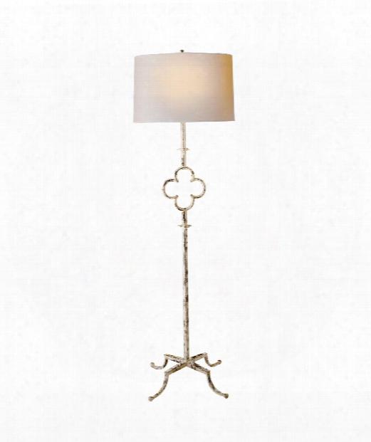 """Quatrefoil 20"""" 2 Light Floor Lamp In Belgian White"""