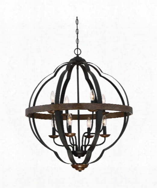 "Siren 28"" 8 Light Large Pendant In Black"