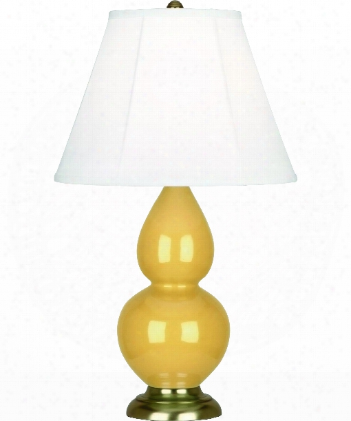 """Small Double Gourd 5"""" 1 Light Table Lamp In Antique Brass-sunset"""