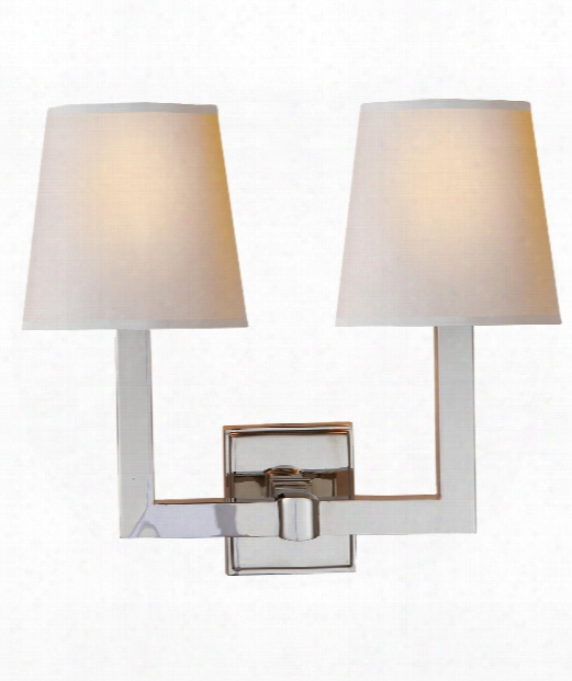 "Square Tube 15"" 2 Light Wall Sconce In Polished Nickel"