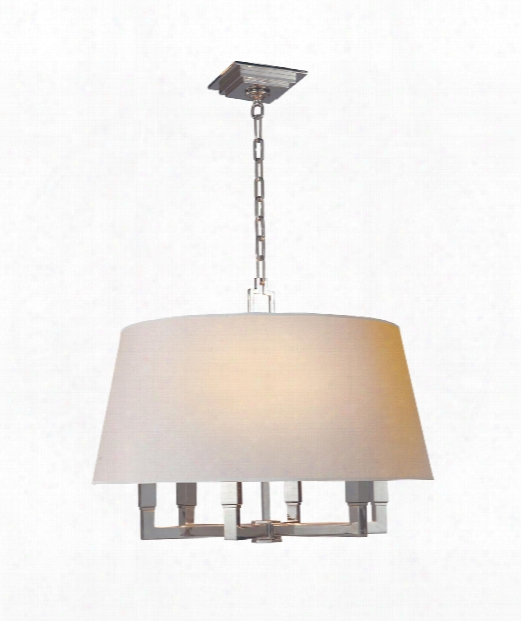 """Square Tube 24"""" 6 Light Large Pendant In Polished Nickel"""