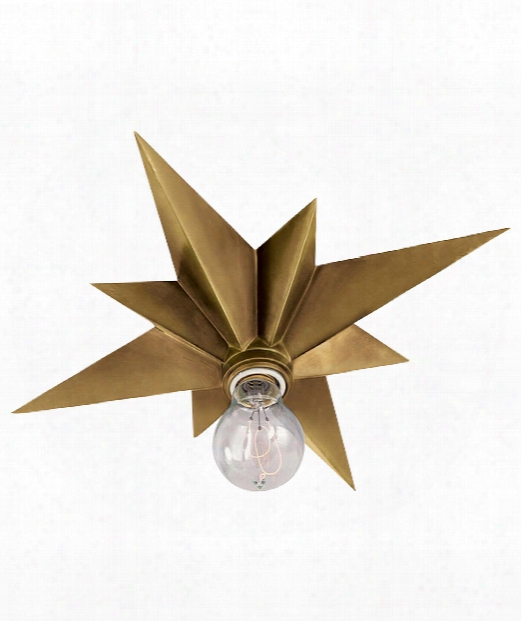"Star 15"" 1 Light Flush Mount In Hand-rubbed Antique Brass"