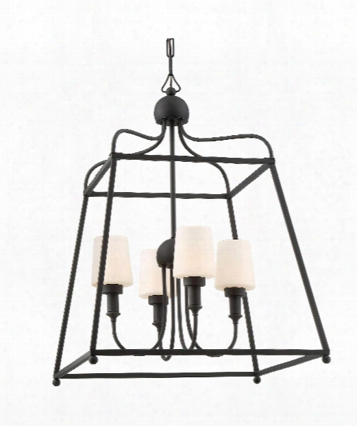 """Sylvan 22"""" 4 Light Outdoor Outdoor Hanging Lantern In Matte Black"""