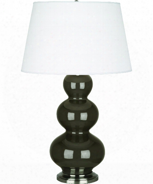 """Triple Gourd 8"""" 1 Light Table Lamp In Antique Silver-brown Tea"""