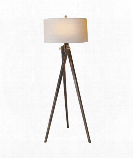 "Tripod 17"" 1 Light Floor Lamp In Tudor Brown Stain"