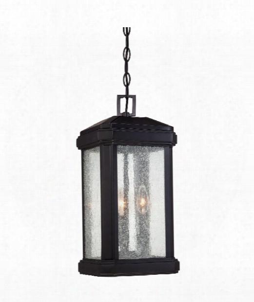 """Trumbull 9"""" 3 Light Outdoor Outdoor Hanging Lantern In Mystic Black"""