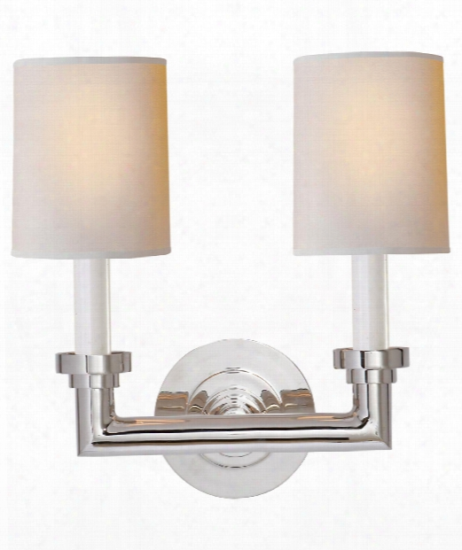 "Wilton 13"" 2 Light Wall Sconce In Polished Nickel"