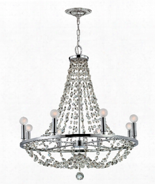 "28"" 8 Light Chandelier In Polished Chrome"