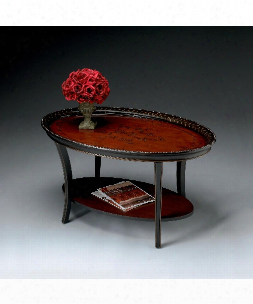 "Artists' Original 38"" Coffee Table In Traditional Red And Black"