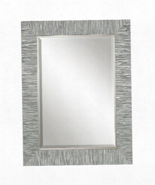 "Belaya 28"" Wall Mirror In Solid Wood-silver With Blue Grey Stripes"