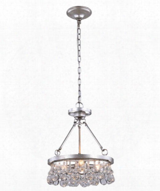 "Bettina 15"" 3 Light Mini Pendant In Silver Leaf"