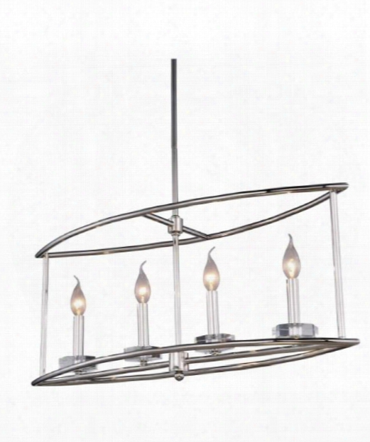 "Bjorn 10"" 4 Light Island Light In Polished Nickel"