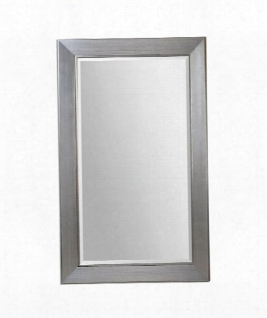 """Bronx 52"""" Wall Mirror In Lightly Antiqued Silver Leaf"""