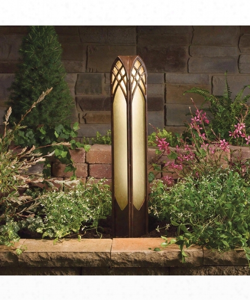 """Cathedral 4"""" 1 Light Outdoor Bollard In Textured Tannery Bronze"""