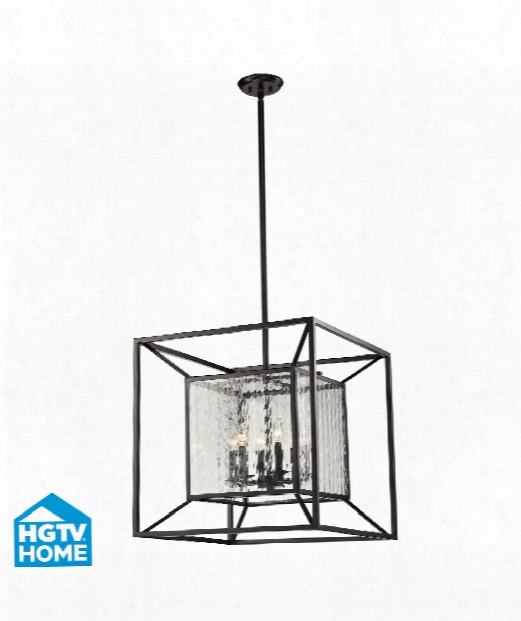 "Cubix 24"" 6 Light Large Pendant In Oiled Bronze"
