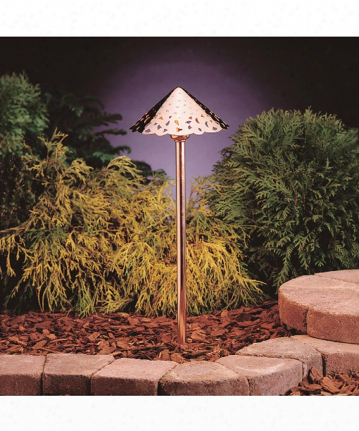 """Decorative Hammered Roof 8"""" Led 3 Light Outdoor Pathway Light In Copper"""