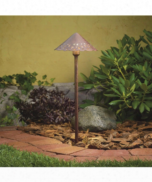 "Decorative Hammered Roof 8"" Led 3 Light Outdoor Pathway Light In Textured Tannery Bronze"