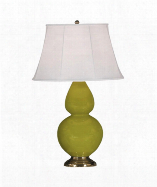 """Double  Gourd 7"""" 1 Light Table Lamp In Antique Brass-apple"""
