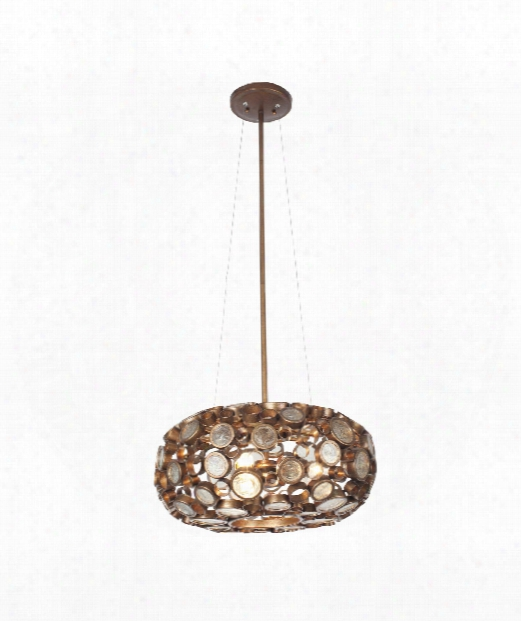 "Fascination 18"" 3 Light Large Pendant In Hammered Ore"