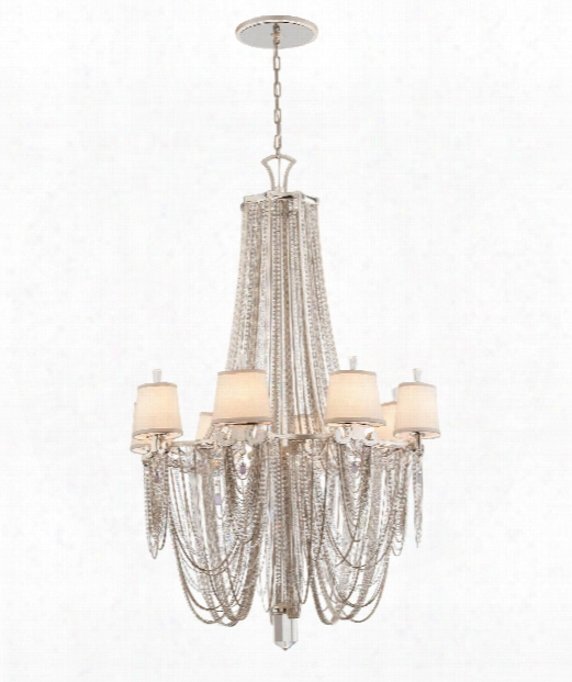 "Flirt 39"" 8 Light Chandelier In Silver Leaf With Polished Stainless Accents"