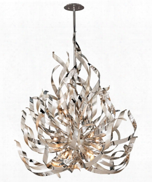 "Graffiti 44"" 12 Light Chandelier In Silver Leaf And Polished Chrome"