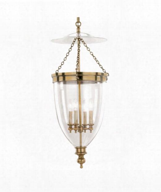 """Hanover 16"""" 4 Light Foyer Pendant In Aged Brass"""