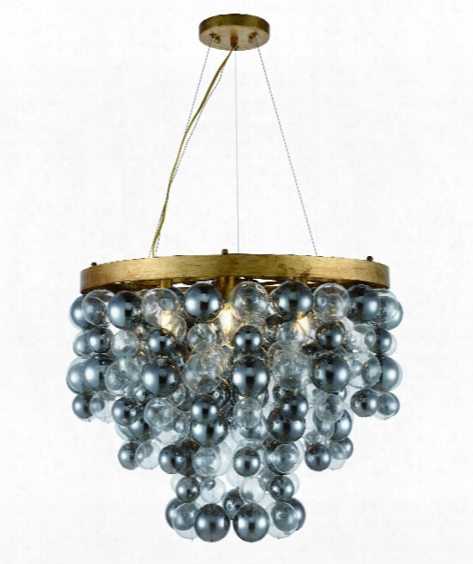 "Isabel 27"" 7 Light Large Pendant In Antique Gold Leaf"
