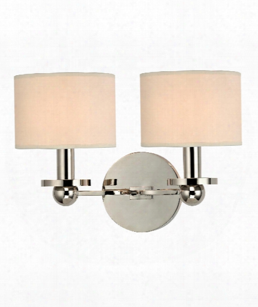 "Kirkwood 13"" 2 Light Bath Vanity Light In Polished Nickel"
