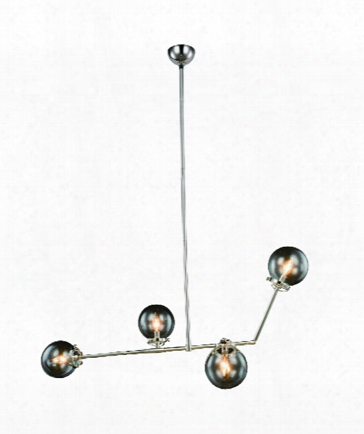 "Leda 21"" 4 Light Large Pendant In Polished Nickel"