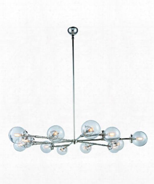 "Leda 58"" 12 Light Chandelier In Polished Nickel"