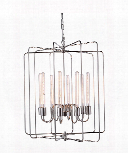 "Lewis 25"" 8 Light Large Pendant In Polished Nickel"