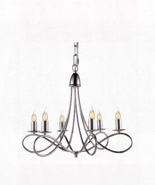 "Lyndon 24"" 6 Light Chandelier In Polished Nickel"