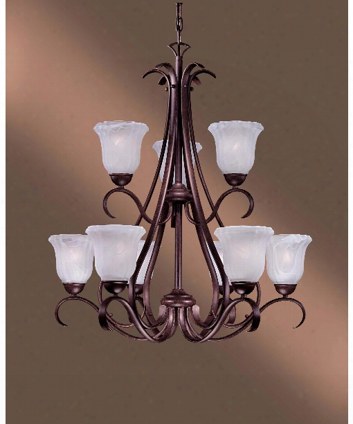 "Marche 29"" 9 Light Chandelier In Noble Bronze"