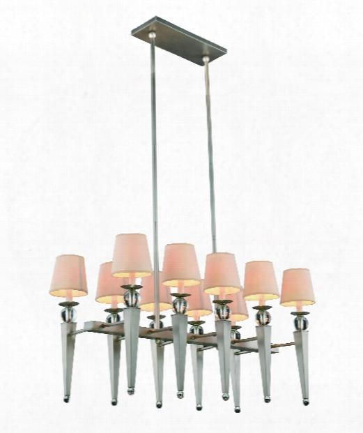 "Olympia 20"" 10 Light Island Light In Vintage Nickel"