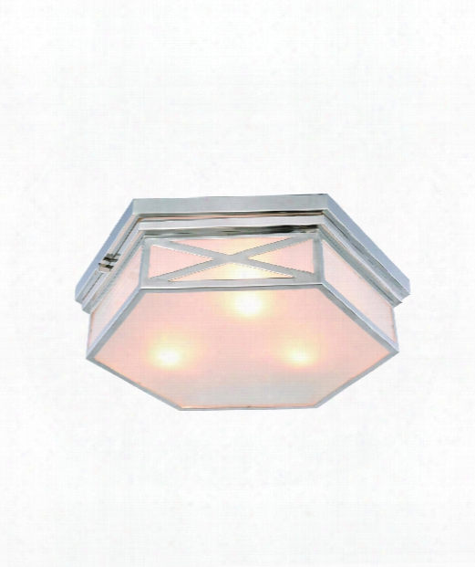 "Penta 18"" 3 Light Flush Mount In Polished Nickel"