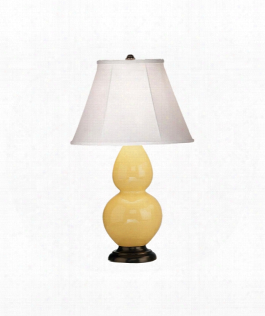 "Small Double Gourd 5"" 1 Light Table Lamp In Bronze-butter"